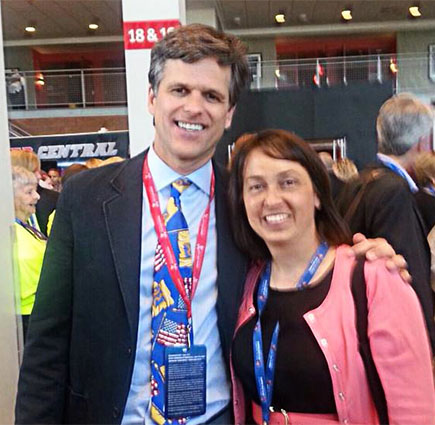 HF&P attorney Maria Fischer with Chairman of the Special Olympics Board of Directors Tim Shriver - Hinkle, Fingles & Prior, disability law firm, New Jersey and Pennsylvania