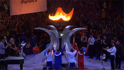 NJTV video still from 2014 Special Olympics USA Games Torch Lighting Ceremony - Hinkle, Fingles & Prior, disability law firm, New Jersey and Pennsylvania